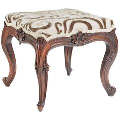Stylish Victorian Rosewood Carved Cabriole Leg Stool