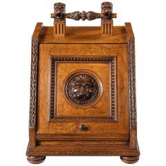Victorian Coal Box/ Scuttle in Carved Blond Oak