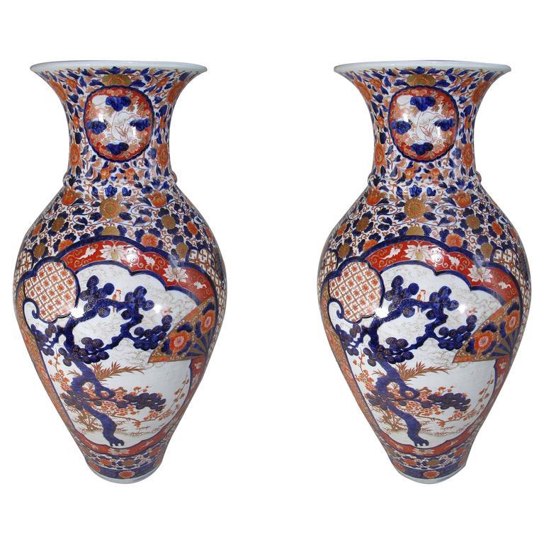 Pair of Massive Japanese Imari Porcelain Vases Edo Period, Circa 1800