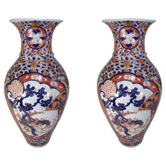 Pair of Large Blue Red Japanese Porcelain Vases, Circa 1800