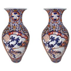 Pair of Massive Japanese Imari Porcelain Vases Edo Period, Circa 1800