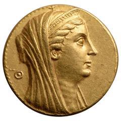 Heavy Gold Octadrachm Medallion Coin of Queen Arsinoe II, 253 BC