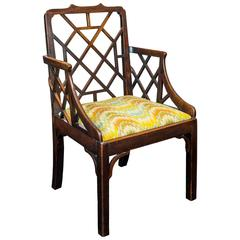 George III Chippendale Period Chinese Lattice Back Mahogany Armchair