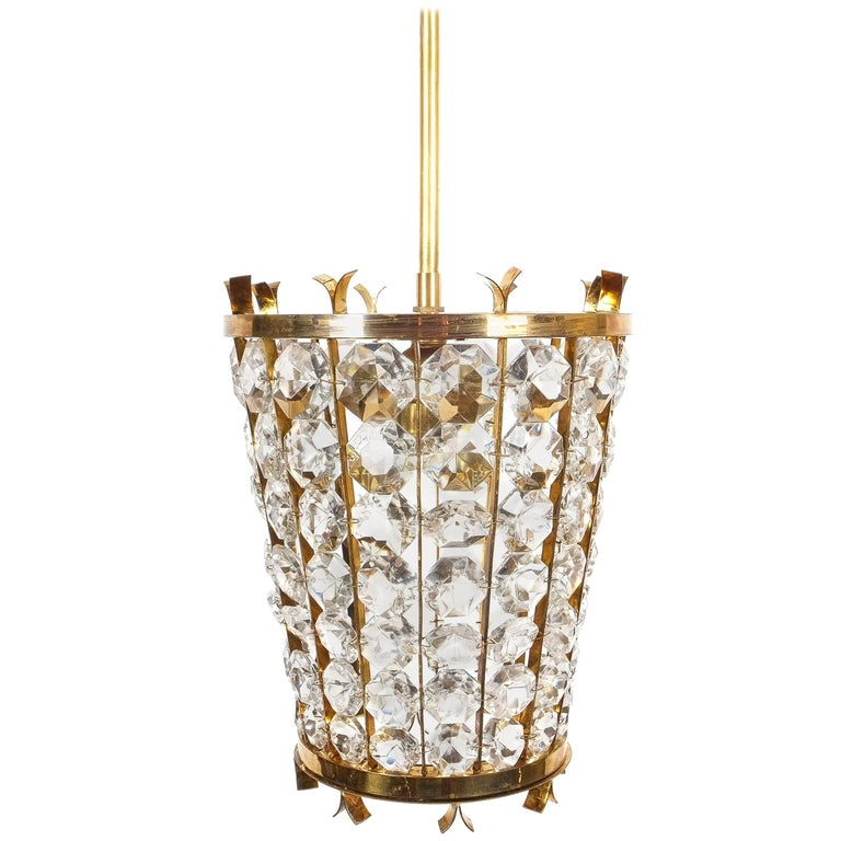Bakalowits Sohne Lantern Pendant Lamp from Brass Crystal Glass, 1950 For Sale