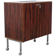 Danish Mid-Modern Rosewood Bar with Fridge