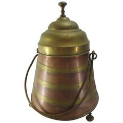 French Copper and Brass Arts & Crafts Footed Vessel with Lid