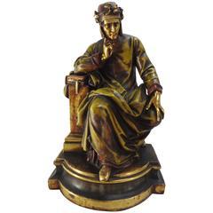 Statue von Dante Italien, 19. Jahrhundert