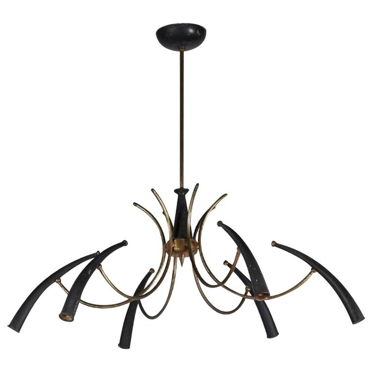 Mid 20th Century Lacquered and Brass Chandelier by Lumi Milano