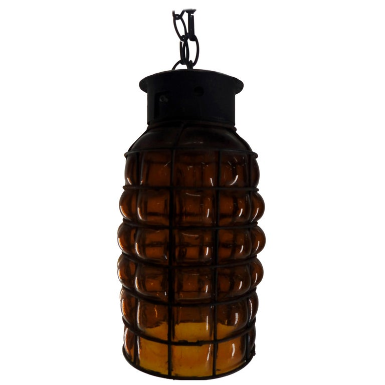 Industrial Hanging Amber Bubble Glass Pendant For Sale