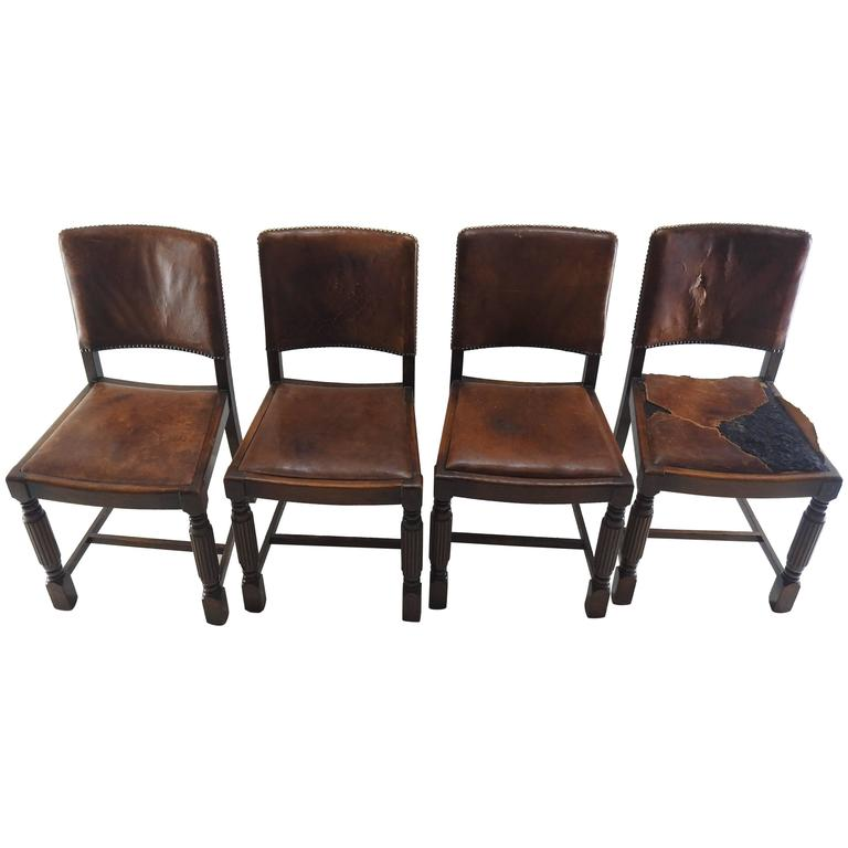 Early 19th Century English Oak Chairs with Leather Seats