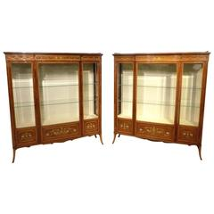 Stunning Quality Pair of Fiddleback Mahogany Inlaid Antique Display Cabinets