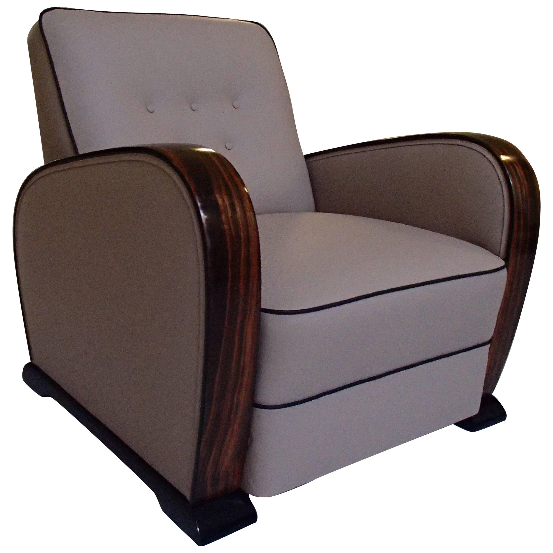Art Deco Leather Club Chair with Ebene de Macassar Handles