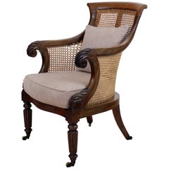 Regency Mahogany and Cane Filled English Library or Bergère Chair