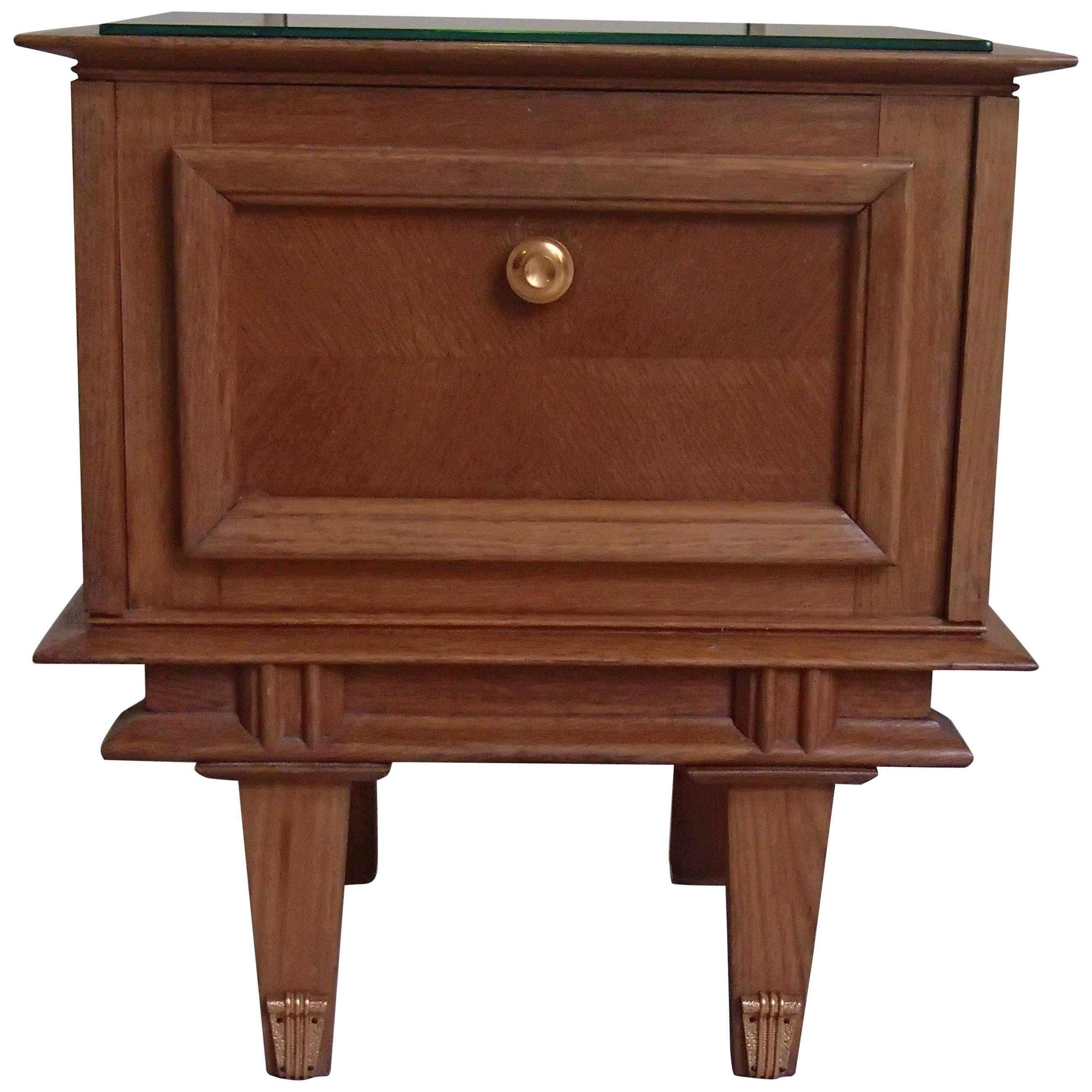 1940s Side Table or Nightstand Oak and Brass Decor