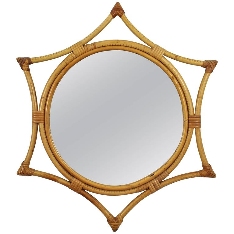 Spanish Mid-Century Modern Bamboo Starburst Mirror