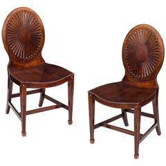 Pair of George III Mahogany and Purpleheart Hall Chairs, Manner of Mayhew & Ince