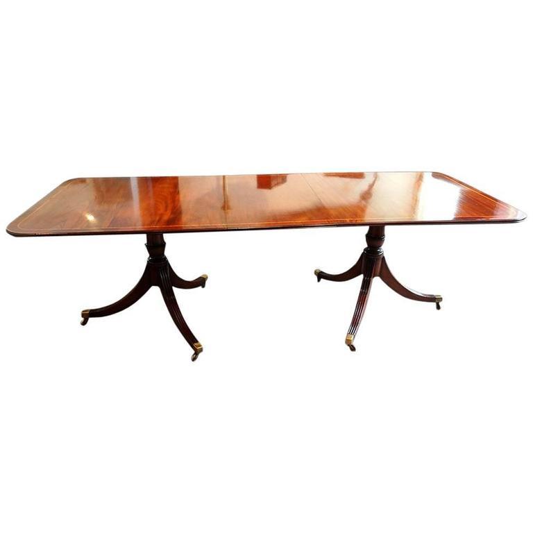 Regency Style Mahogany Cross Banded Twin Pillar Dining Table 1