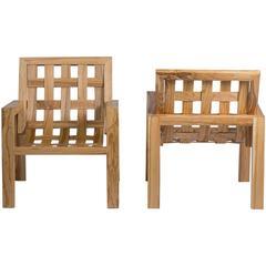 Zwei Sessel aus massivem Holz, Philippe Rodenas für Galerie Canavèse, 2017
