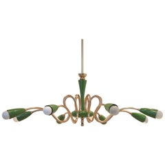 Mid-Century Design Organic Green and Brass Chandelier Lamp