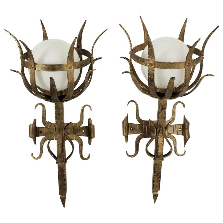 Pair of Large Gothic Style Gilt Iron Wall Sconces with Opaline Glass Globes
