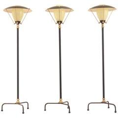Mid-Century Belgian Design, Brass and Glass Tripod Floor Lamp