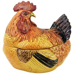 Huge Italian Mid-20th Century Hand-Painted Majolica Hen Tureen