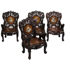 Set of Four Indochinese Armchairs, circa 1930