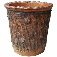Large 19th Century Pottery Jardinière or Log Bin