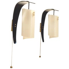 Mid-Century Italian Design, Two Curvy Black and White Plexiglas Wall Sconces