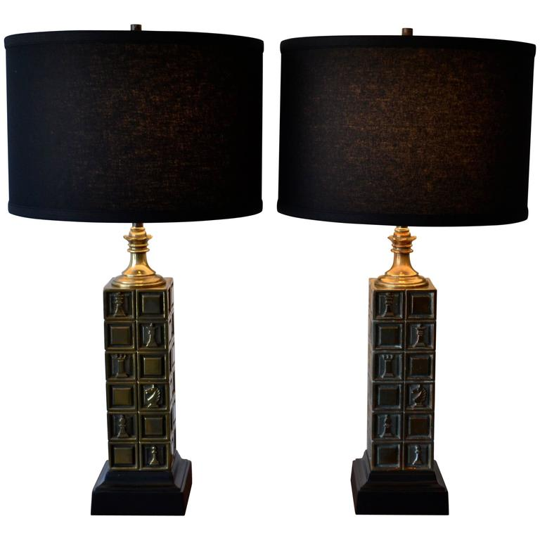 """Pair of Mid Century """"The Chessmen"""" Brass Table Lamps by Laurel Lamp Co, 1960's"""