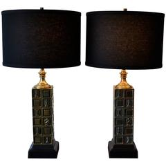 """Pair of """"Chessmen"""" Brass Table Lamps by Laurel, 1960s"""