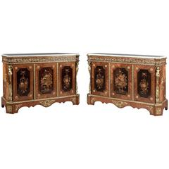 Pair of Napoléon III Marquetry Inlaid Side Cabinets, French, circa 1870