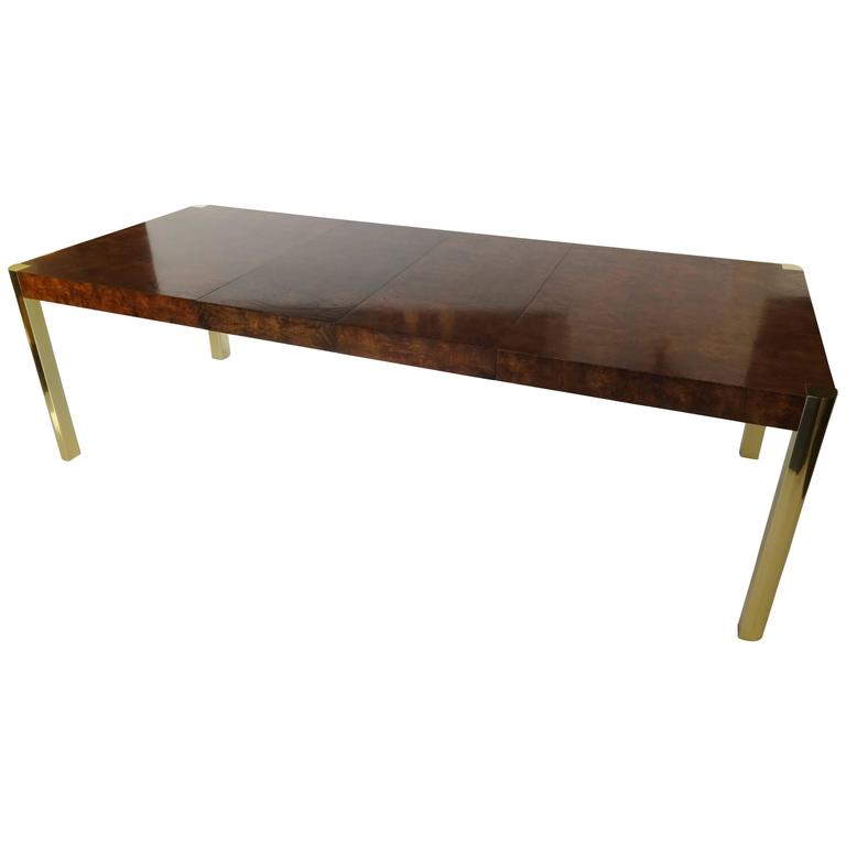 Burl Wood and Brass Dining Table by Century Furniture Company