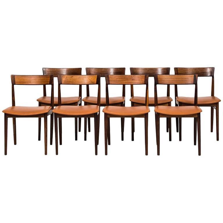 Henry Rosengren Hansen Dining Chairs Model 39 by Brande Møbelfabrik in Denmark For Sale