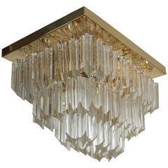 Clear Murano Glass Flush Mount in the Style of Venini