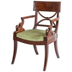 English Regency Period Mahogany Armchair Designed by Thomas Hope