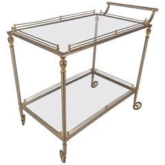 Mid-Century Modern Two-Tier Brass and Metal Serving Cart