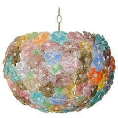 Mid-Century Barovier & Toso Murano Flowers Ball Chandelier