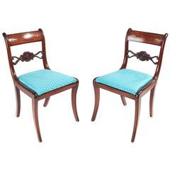 Fine Pair of Regency Mahogany Brass Inlaid Chairs