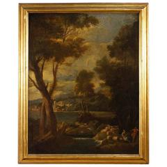 19th Century Landscape Painting Oil on Canvas