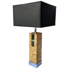Mid-Century Modern Mixed Metal Cork Lamp by Mutual Sunset