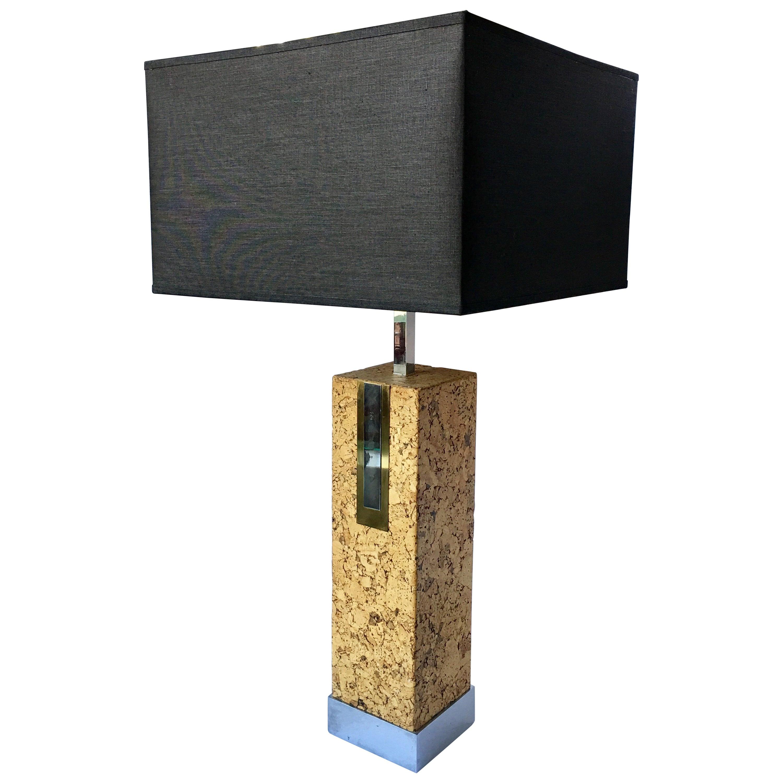 Mid-Century Modern Mixed Metal Cork Lamp by Mutual Sunset