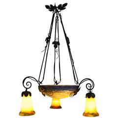French Art Deco Chandelier Signed G.V.Croismare 'Muller Freres' Iron and Glass