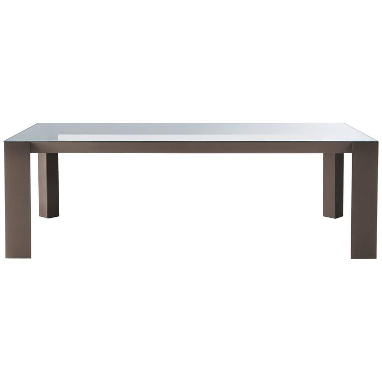 Gallotti an Radice Koy Table in Wood or Lacquered Base with Glass Top For Sale