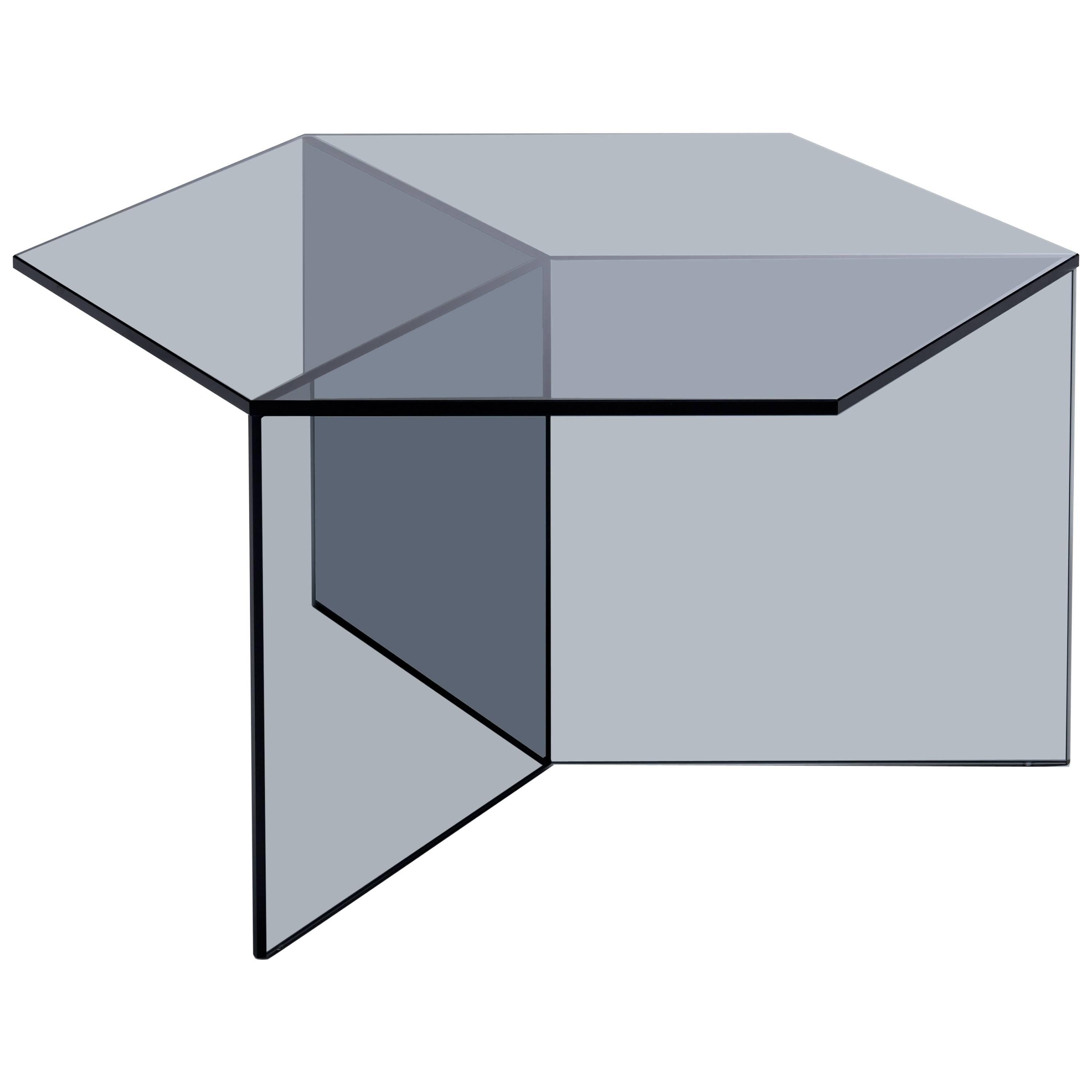 Isom Square Black Side Table in Tempered Glass