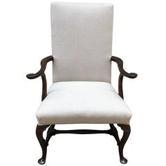 English Mahogany Armchair with Pad Foot and Turned Stretcher Base