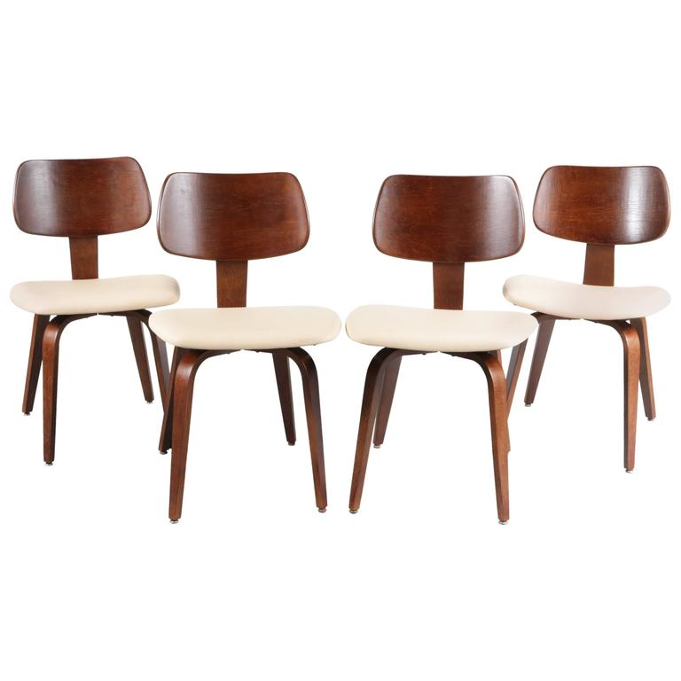 Set Of Four Dining Chairs By Joe Atkinson For Thonet, USA, 1950 1