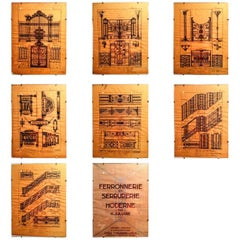 Rare and Complete Set of 32 Original Art Deco Drawings of Decorative Metalworks