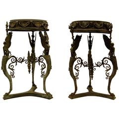 Two Grand Tour Bronze Athéniennes or Stands Dated, 1903