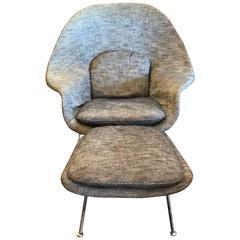 Eero Saarinen Womb Chair and Ottoman Knoll in Original Fabric, 1970s